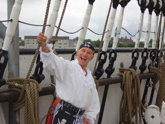 Showing Pirate Pete loving The Tall Ship, SS Glenlee, Glasgow, Strathclyde,Scotland
