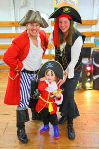 Showing mother and child with Pirate Pete aboard The Tall Ship Glasgow