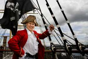 Pirate Pete setting sail aboard The Tall Ship, Glasgow, Scotland