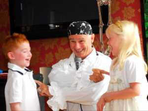 Showing Pirate Pete sharing fun and laughter at a party